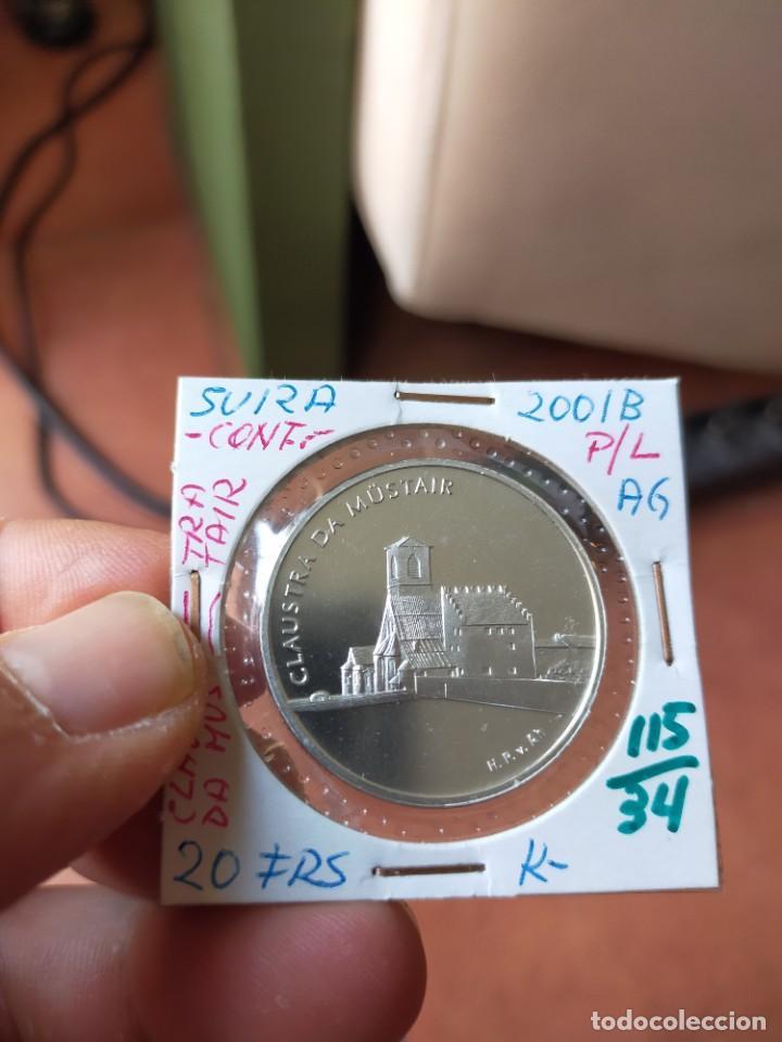 MONEDA DE 20 VEINTE FRANCOS 2001 PRUEBA PLATA B SUIZA CLAUSTRA DA MUSTAIR (Numismática - Extranjeras - Europa)