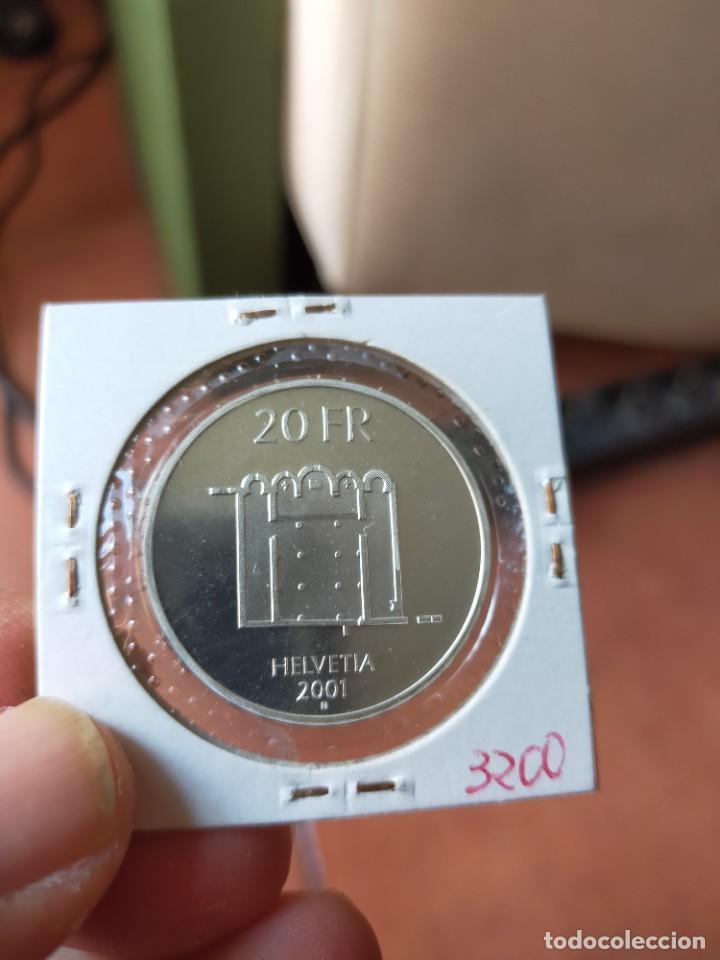 Monedas antiguas de Europa: MONEDA DE 20 VEINTE FRANCOS 2001 PRUEBA PLATA B SUIZA CLAUSTRA DA MUSTAIR - Foto 2 - 254995350