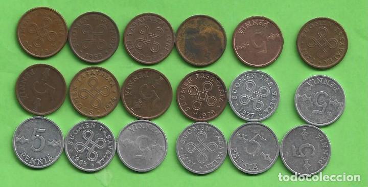 FINLANDIA. 18 MONEDAS DE 5 PENNIA. 18 FECHAS, 2 MODELOS (Numismática - Extranjeras - Europa)