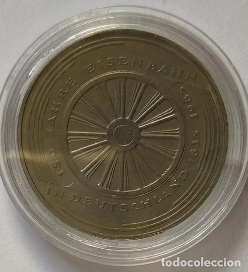 ALEMANIA - 1985 - 5 MARCOS 150 AÑOS TREN ALEMÁN - CAT. SCHOEN Nº 162 (PK)163 - ENCAPSULADA - EBC (Numismática - Extranjeras - Europa)