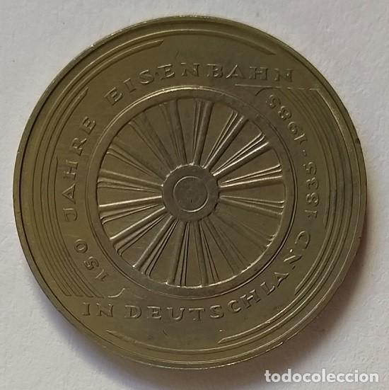 Monedas antiguas de Europa: ALEMANIA - 1985 - 5 MARCOS 150 AÑOS TREN ALEMÁN - CAT. SCHOEN Nº 162 (PK)163 - ENCAPSULADA - EBC - Foto 2 - 255586860
