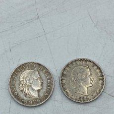 Monedas antiguas de Europa: LOTE DE 2 MONEDAS DE SUIZA. 20 RAPPEN. AÑO 1884 Y 1975. VER FOTOS. Lote 255942595