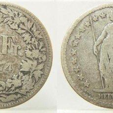 Moedas antigas da Europa: MONEDA DE SUIZA 2 FRANCOS 1874 B PLATA. Lote 257566580