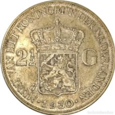 Monedas antiguas de Europa: PAISES BAJOS. 2 ½ GULDEN (FLORÍN) DE 1930. REINA GUILLERMINA. (002).. Lote 257815040