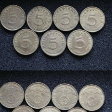 Monedas antiguas de Europa: CONJUNTO COMPLETO DE 5 REICHSPFENNIG 1938 A/B/D/E/F/G/J-KM # 91 CON LA ESVÁSTICA. Lote 258498400