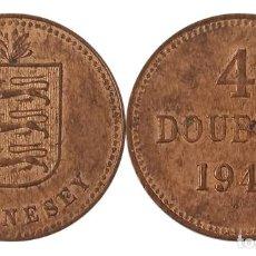"""Monedas antiguas de Europa: GUERNSEY 4 DOUBLES 1945, CECA """"H"""". Lote 259270840"""