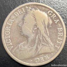 Monedas antiguas de Europa: GRAN BRETAÑA, MONEDA DE 1/2 CORONA DEL AÑO 1899. Lote 260655445