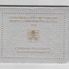 Monedas antiguas de Europa: VATICANO-CARTERA OFICIAL-2 EUROS-2020-CENTANARIO DEL NACIMIENTO DE JUAN PABLO II-PROF. Lote 261549445