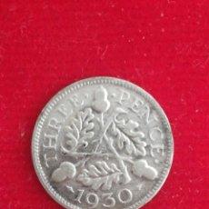 Monedas antiguas de Europa: MONEDA THREE PENCE 1930 INGLATERRA GEORG V PLATA. Lote 261560180
