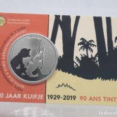 Monedas antiguas de Europa: BELGICA 5 EUROS 2019 BU - CONM. 90 ANIVERSARIO DE TINTIN - RELIEVE - COINCARD. Lote 261567360