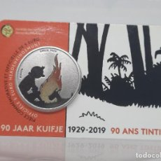 Monedas antiguas de Europa: BELGICA 5 EUROS 2019 BU - CONM. 90 ANIVERSARIO DE TINTIN - COLOR - COINCARD. Lote 261567790