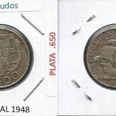 Monedas antiguas de Europa: PORTUGAL 1948 - 5 ESCUDOS PLATA - KM 581 - CIRCULADA. Lote 261855170