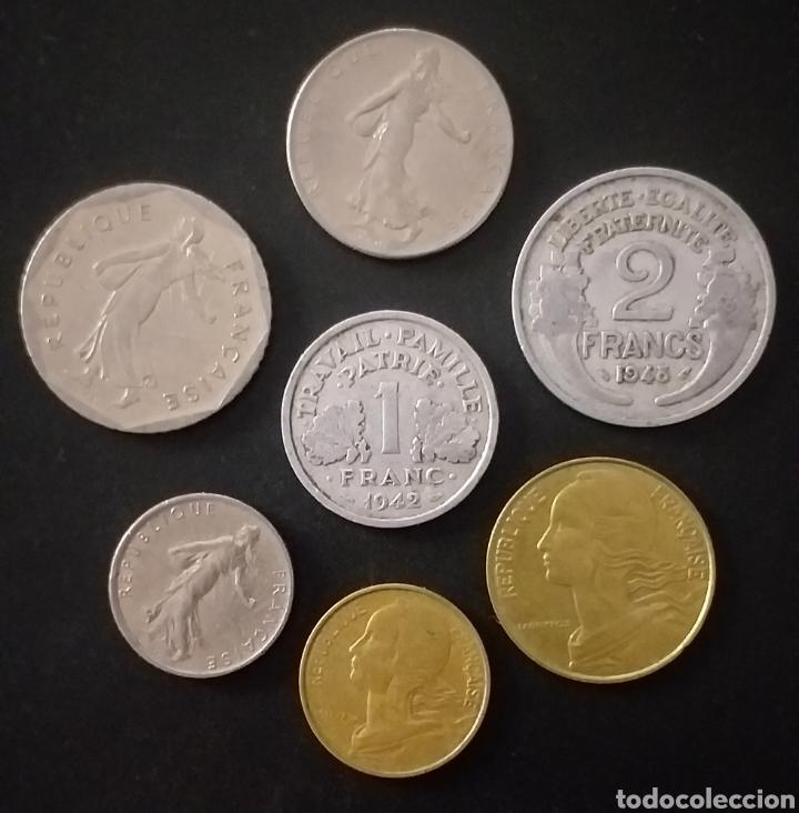 LOTE DE 7 MONEDAS DISTINTAS FRANCIA DISTINTOS VALORES Y DISTINTAS FECHAS (Numismática - Extranjeras - Europa)