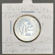Monedas antiguas de Europa: PAÍSES BAJOS - HOLANDA - 1 GULDEN 1964 - PLATA - MUY EBC - CASI S / C - ENCARTONADA - CAT SCHOEN 68. Lote 262134420