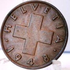 Monedas antiguas de Europa: ⚜️ 2 RAPPEN 1948. SIN CIRCULAR DE CARTUCHO. ACUÑACIÓN MUY DESCUIDADA. SUIZA. AC678. Lote 262486570
