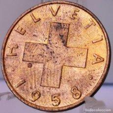 Monedas antiguas de Europa: ⚜️ 2 RAPPEN 1958. SIN CIRCULAR DE CARTUCHO. SUIZA. # AC681. Lote 262486765