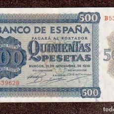 Monedas antiguas de Europa: BILLETE DE ESPAÑA 500 PESETAS 1936 CASI PLANCHA LA QUE VES. Lote 262604085