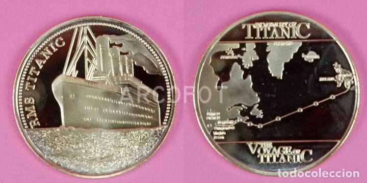 MONEDA CONMEMORATIVA - RMS TITANIC - THE VOYAGE OF TITANIC - 40 MM. - 24 G. APROX. - LA DE LA FOTO (Numismática - Extranjeras - Europa)
