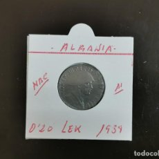 Monedas antiguas de Europa: ALBANIA 0,20 LEK 1939 MBC KM=29(MAGNETICA)INVASION ITALIANA. Lote 263176140