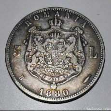 Monedas antiguas de Europa: RARA MONEDA PLATA 5 LEI 1880 RUMANÍA. Lote 263201615