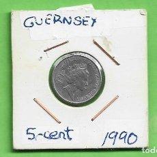 Monedas antiguas de Europa: GUERNSEY. 5 PENCE 1990. CUPRONIQUEL. KM#42.2. Lote 263586745
