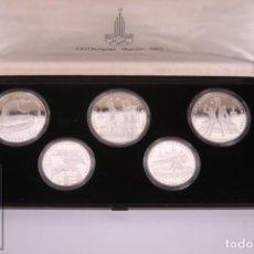 Monedas antiguas de Europa: ESTUCHE MONEDAS PROOF - RUSIA OLIMPIADA MOSCU 1980 - 5 RUBLOS Y 10 RUBLOS - PLATA 900 MILÉSIMAS. Lote 265184594
