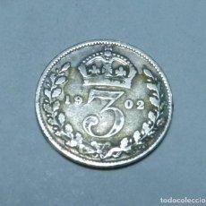 Monnaies anciennes de Europe: MONEDA DE PLATA DE 3 PENIQUES DEL REY EDUARDO VII DE GRAN BRETAÑA AÑO 1902. Lote 265472209