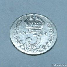 Monnaies anciennes de Europe: MONEDA DE PLATA DE 3 PENIQUES DEL REY EDUARDO VII DE GRAN BRETAÑA AÑO 1906. Lote 265472434