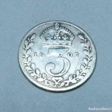 Monnaies anciennes de Europe: MONEDA DE PLATA DE 3 PENIQUES DEL REY EDUARDO VII DE GRAN BRETAÑA AÑO 1907. Lote 265472739
