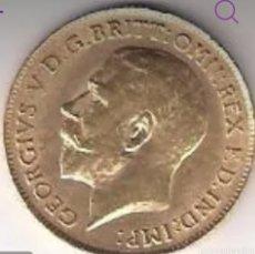 Monedas antiguas de Europa: 1/2 LIBRA GEORGEV. 1911. PESA 3,98 GRAMOS. ORO 22KTS. Lote 266595918