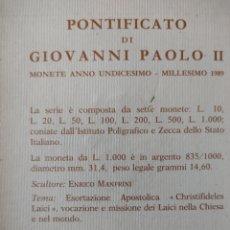 Monedas antiguas de Europa: ESTUCHE MONEDAS VATICANO 1989. Lote 267769544
