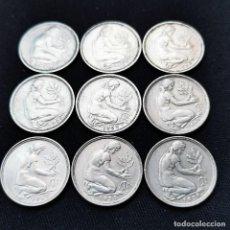 Monete antiche di Europa: ⚜️ A2300. ALEMANIA RFA. 50 PFENNIG 1949F + 2 SERIES COMPLETAS 1950 (LAS 4 CECAS). Lote 268426509