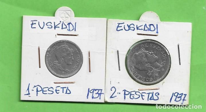 EUSKADI. 1 Y 2 PESETAS 1937. GUERRA CIVIL (Numismática - Extranjeras - Europa)