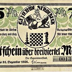 Monedas antiguas de Europa: ALEMANIA - NOTGELD - STROEBECK - 75 PFENNIG - 31-12-1921 - 76X118 MM - N°001311 - #1285.1A SC. Lote 268869444