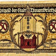 Monedas antiguas de Europa: ALEMANIA - NOTGELD - TREUENBRIETZE - 50 PFENNIG - 07-1921 - A 31360 - 73X102 MM - 1/6 - #1339.1A SC. Lote 268869794