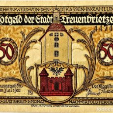 Monedas antiguas de Europa: ALEMANIA - NOTGELD - TREUENBRIETZEN - 50 PFENNIG - 07-1921 - B 44743 - 2/6 - 73X102 MM - #1339.1A SC. Lote 268870114