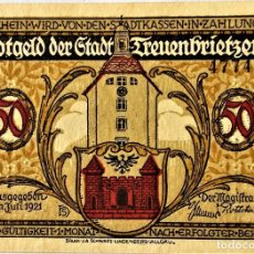 Monedas antiguas de Europa: ALEMANIA - NOTGELD - TREUENBRIETZEN - 50 PFENNIG - 07-1921 - E 47743 - 5/6 - 73X102 MM - #1339.1A SC. Lote 268870324