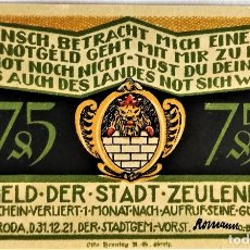 Monedas antiguas de Europa: ALEMANIA - NOTGELD - ZEULENRODA - 75 PFENNIG - 31-12-1921 - 58X95 MM - 6 DE 10 - #1470.2 - SC. Lote 268870509