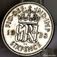 Monete antiche di Europa: ⚜️ A2217. PLATA. 6 PENCE 1938. GRAN BRETAÑA. Lote 269044448