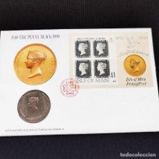 Monedas antiguas de Europa: ⚜️ B2201. MUY EXCLUSIVO! CONMEMORATIVA 1 CROWN 1990 ISLA DE MAN FDC / BU + 'EL PENNY NEGRO' EN SPD. Lote 269288978