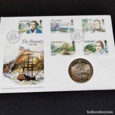 Monedas antiguas de Europa: ⚜️ B2324. MUY EXCLUSIVO! CONMEMORATIVA 1 CROWN 1989 ISLA DE MAN FDC / BU EN SPD. Lote 269290068