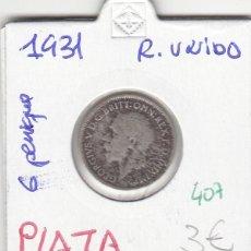 Monedas antiguas de Europa: CR0407 MONEDA REINO UNIDO 6 PENIQUES 1931 PLATA 3. Lote 269718578