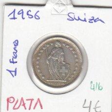 Monedas antiguas de Europa: CR0416 MONEDA SUIZA 1 FRANCO 1956 PLATA 4. Lote 269719453