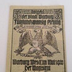 Monedas antiguas de Europa: STADT WARBURG. NOTGELD, 25 PFENNIG. 1920. Lote 270622938