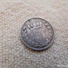 Monedas antiguas de Europa: GRAN BRETAÑA. 3 PENIQUES AÑO 1891 REINA VICTORIA PLATA. Lote 270634038