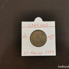 Monedas antiguas de Europa: SAARLAND 20 FRANCOS 1954 BC KM=2 (ALUMINIO-BRONCE). Lote 270955193
