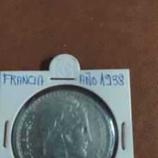 Monedas antiguas de Europa: 20 FRANCOS DE 1938 FRANCIA, MONEDA DE PLATA. Lote 273251733