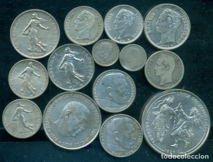 LOTE 14 PIEZAS DE PLATA DIFERENTES - FRANCIA, ALEMANIA III REICH, VENEZUELA, ESPAÑA, PORTUGAL (Numismática - Extranjeras - Europa)