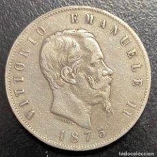 Monedas antiguas de Europa: ITALIA, MONEDA DE PLATA DE 5 LIRAS, AÑO 1875. Lote 275210178
