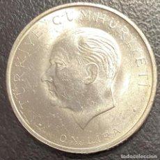 Monedas antiguas de Europa: TURQUÍA, MONEDA DE PLATA DE 10 LIRAS DEL AÑO 1960. Lote 275464778